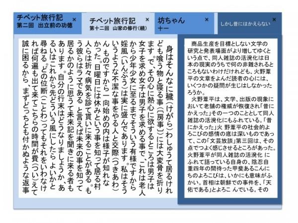 同じ画面上で複数のページを同時に表示した図。ある本を読みながら、別のページを参照したいという場合の同時表示なので、後者についてはやや狭い領域に表示されている