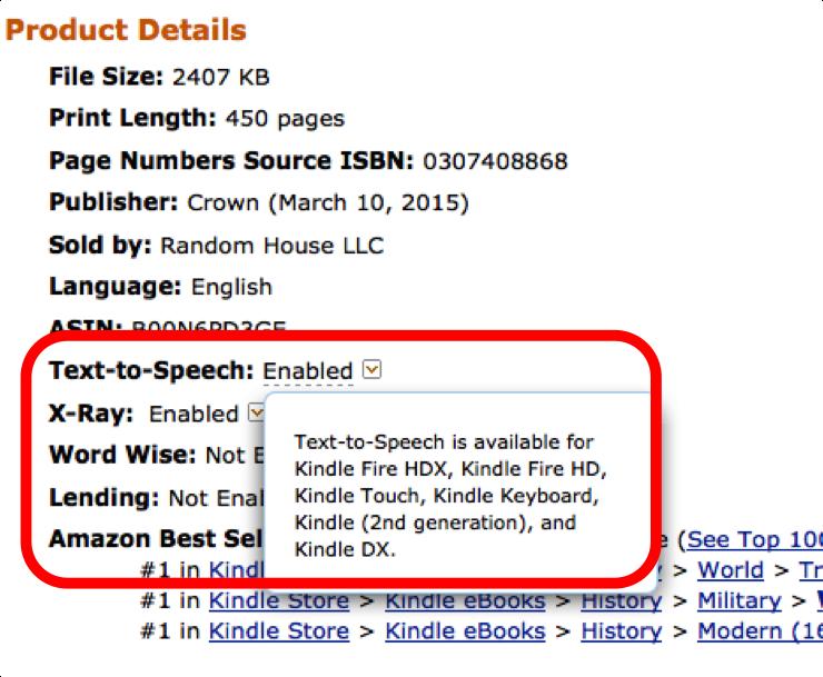 米国Amazon.comのメタデータにはText-to-Speechという項目がある。この写真ではその項目にEnabled(有効)という値が入っている