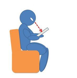 タブレットPCでWebを閲覧する人間を横から示した図。本を読む状態に近いことを示している