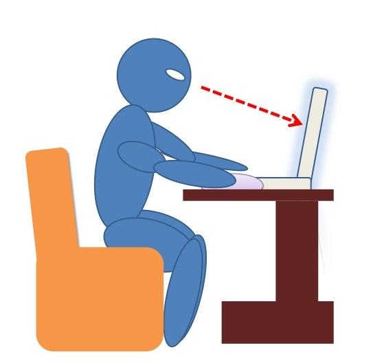 垂直に立てられたモニター上でウェブを閲覧している人間を横から示した図
