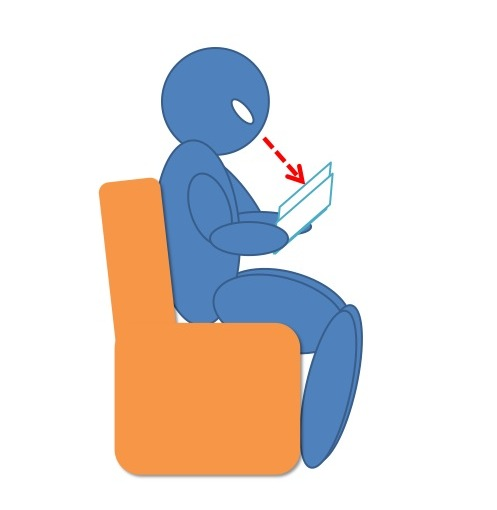 紙の書籍を読んでいる人間を横から示した図