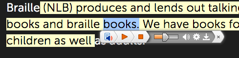 ReadSpeaker社の読み上げ機能で読み上げている画像。ReadSpeakerのUIと読み上げている箇所がハイライトされているところが表示されている