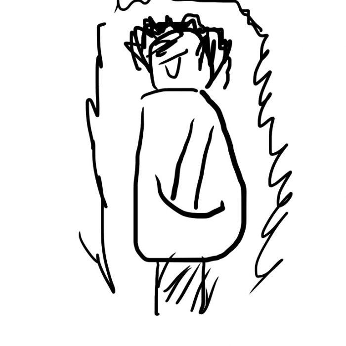 デバイスをコートのポケットにいれた男の人の絵。全身がばちばちで覆われています。